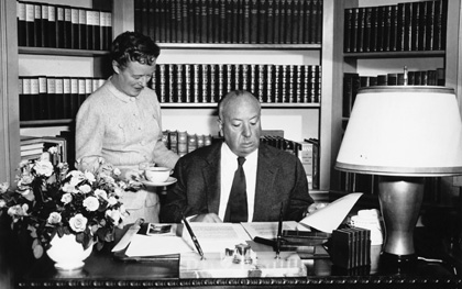 Alfred Hitchcock reading